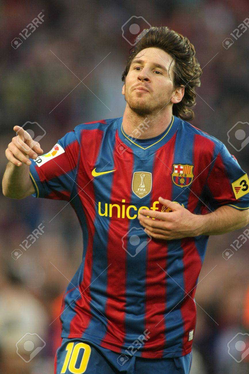 Leo Messi of Barcelona during a Spanish League match between FC Barcelona and Valladolid at the Nou Camp Stadium on May 16, 2010 in Barcelona, Spain Stock Photo - 7098383
