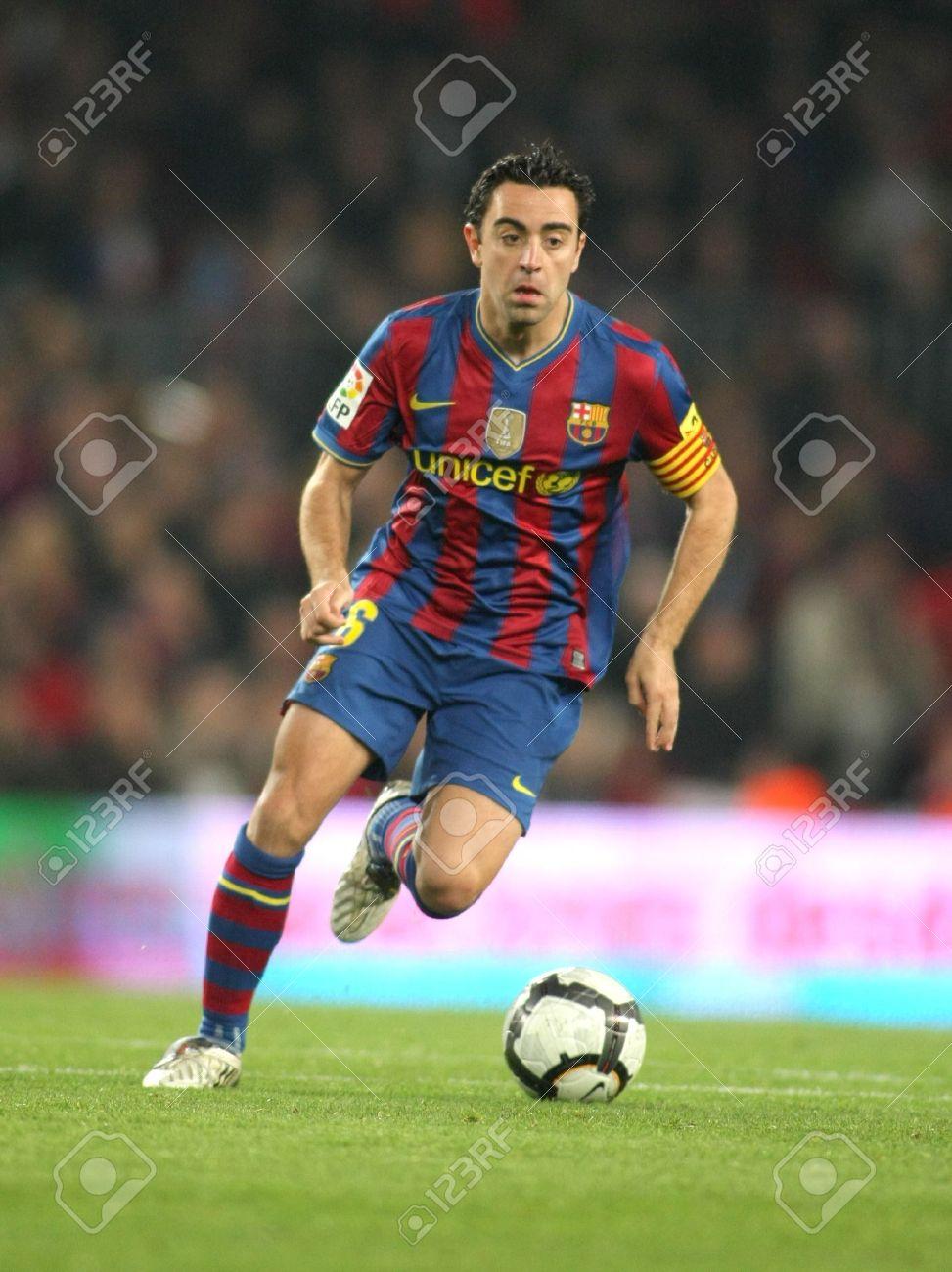 Xavi Hernandez Barcelona In Action During A Spanish League