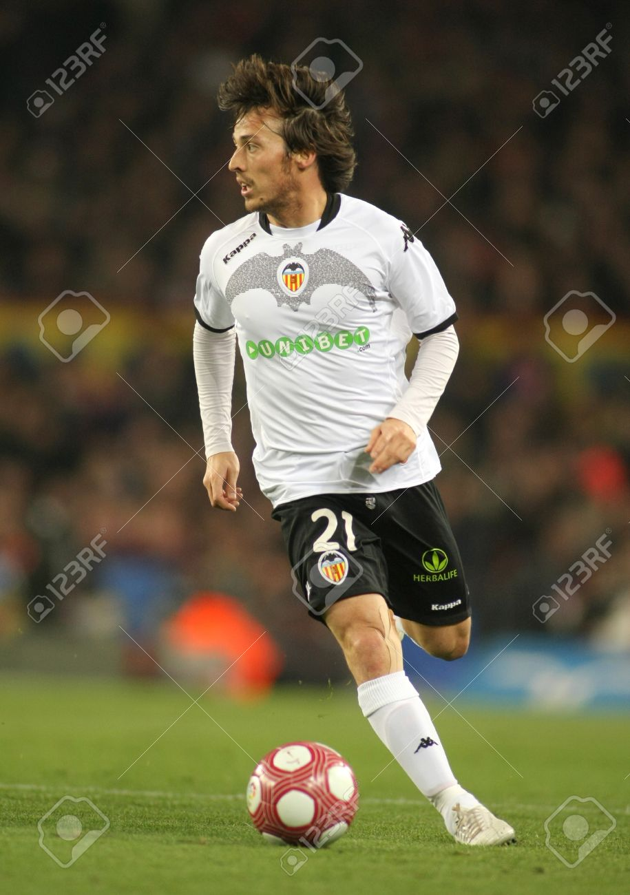 David Silva Valencia CF In Action During A Spanish League
