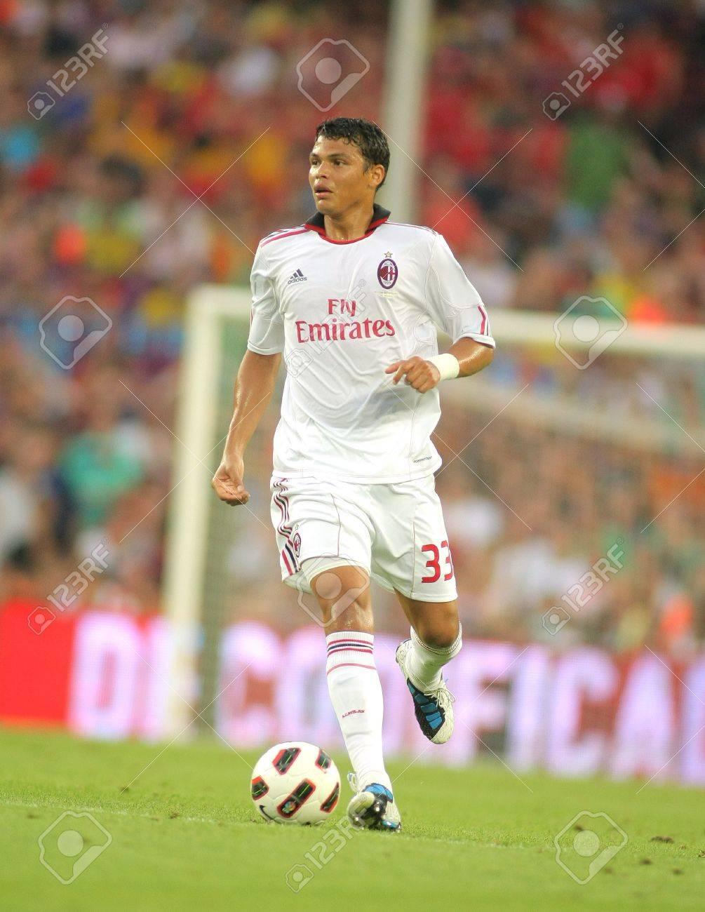 Thiago Silva Player AC Milan In Action During Trophy Joan