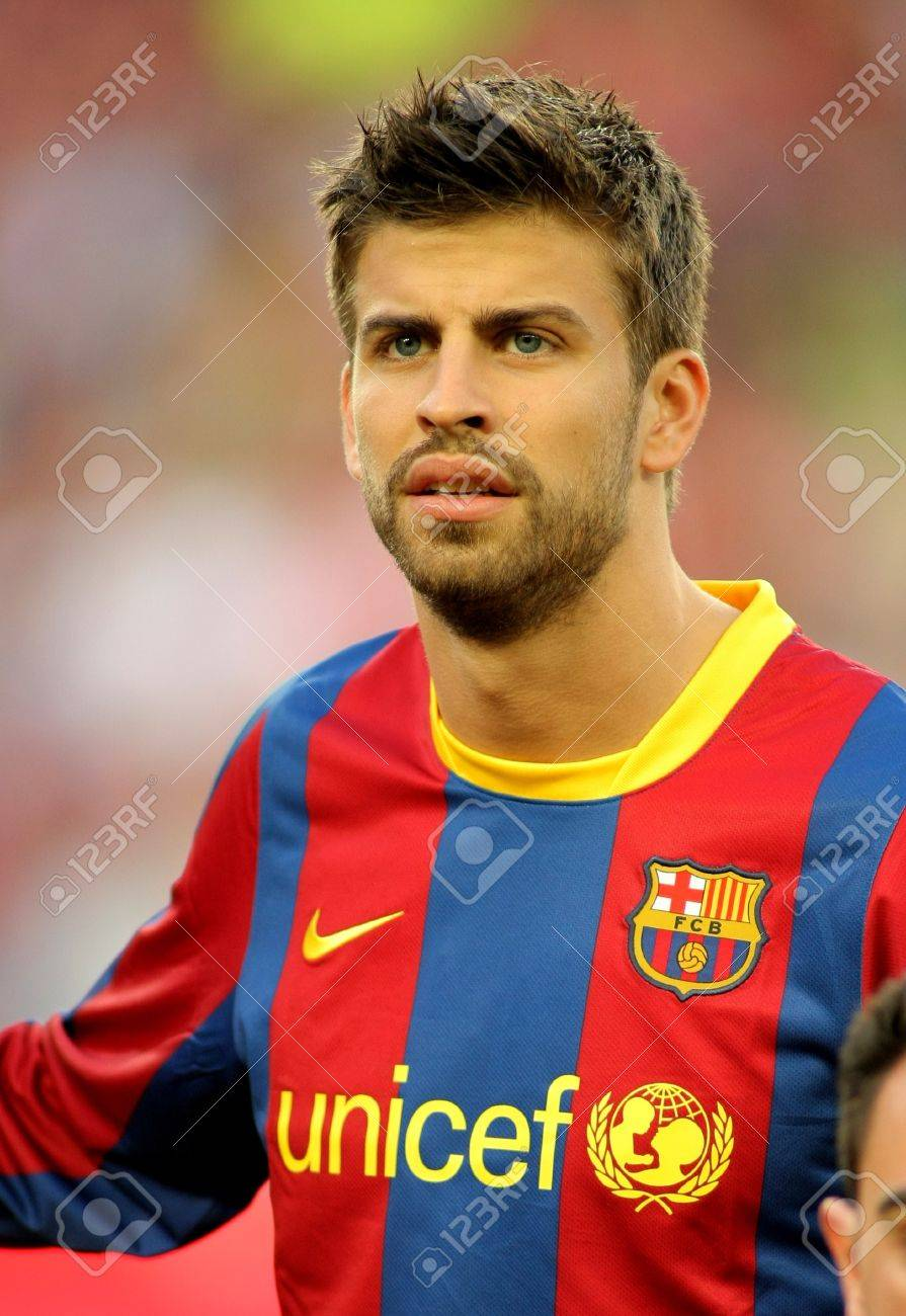 Gerard Pique Barcelona Before The Match Between FC Barcelona