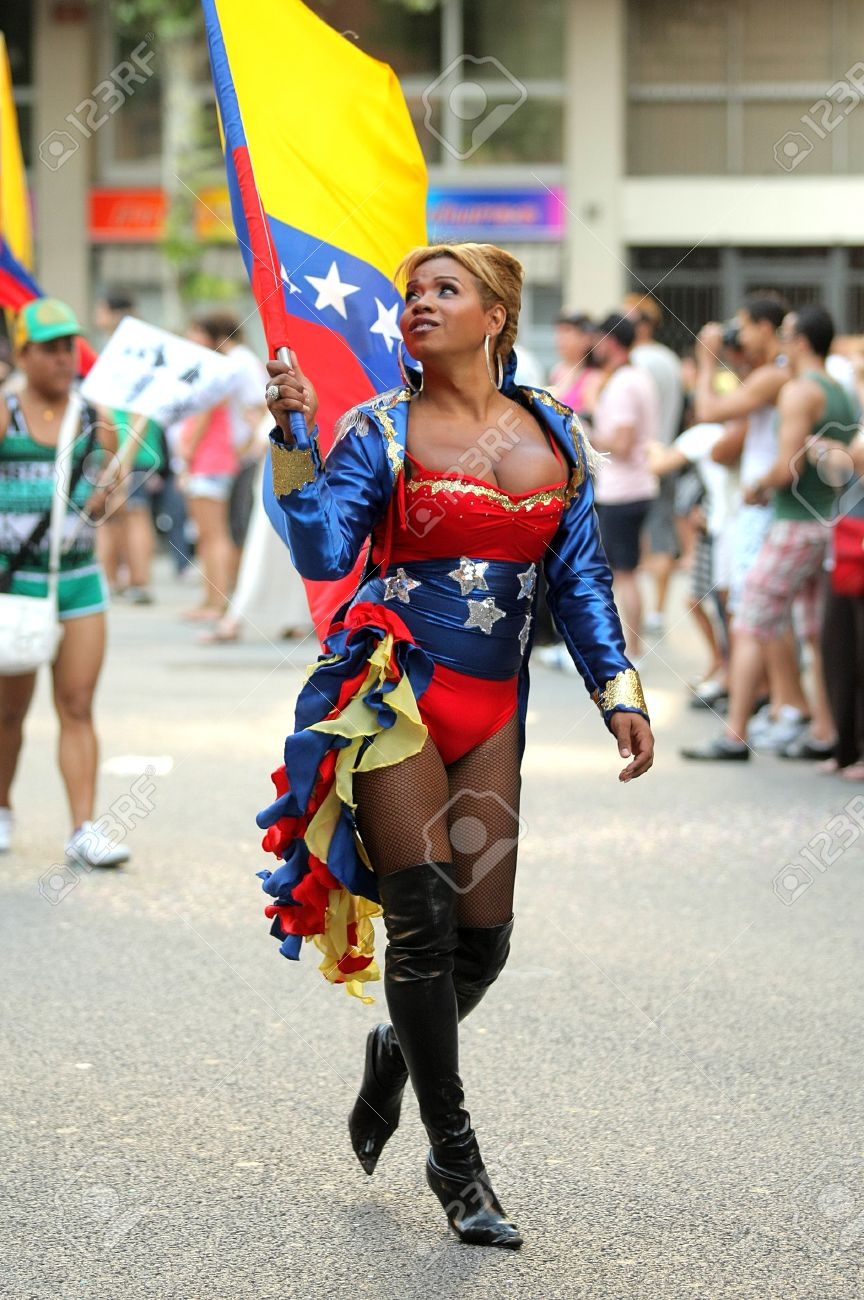 Stock Photo - Transsexual parades during the annual Barcelona Gay and  Lesbian Pride Festival through the city streets, June 26, 2011 in Barcelona,  Spain