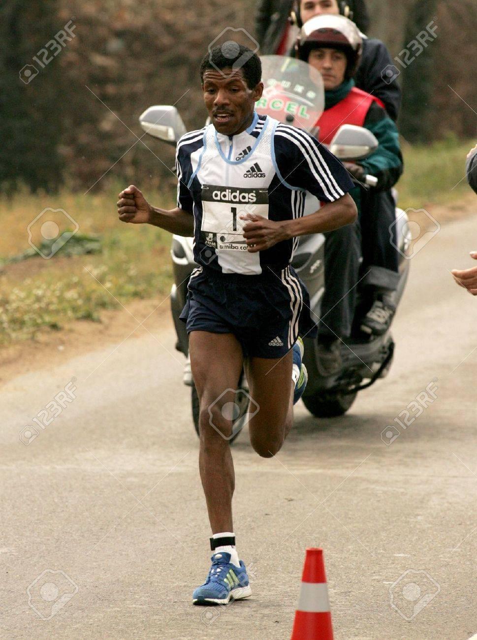2e2458d170fd Stock Photo - The World Recordman Marathon Haile Gebrselassie running  during Granollers Half Marathon at Granollers on February 6