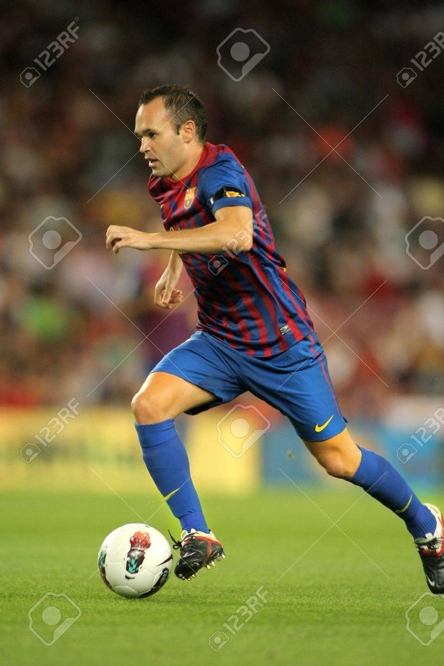 Andres Iniesta FC Barcelona During A Spanish League Match