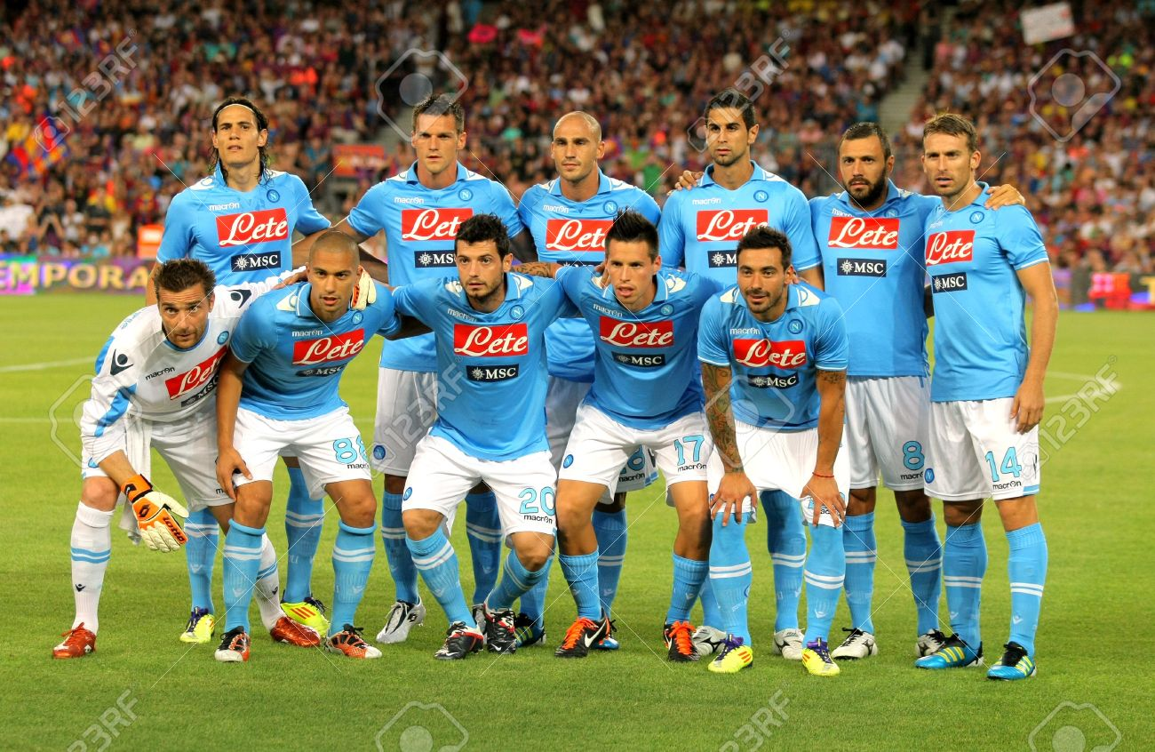 SSC Napoli Team Posing Before Joan Gamper Trophy Match Between FC Barcelona And At