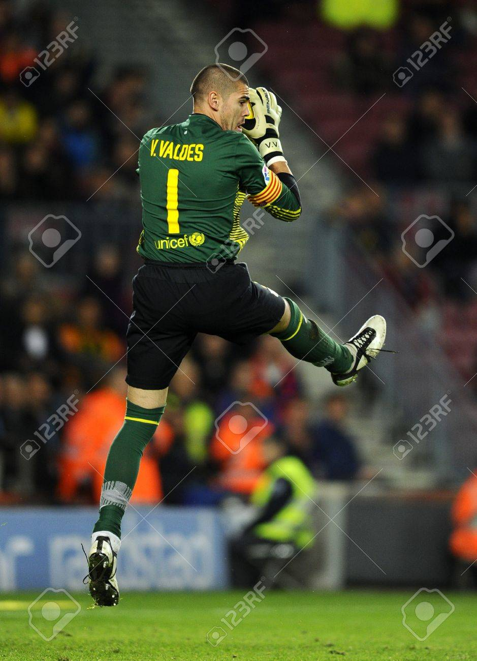 Victor Valdes FC Barcelona In Action During The Spanish League