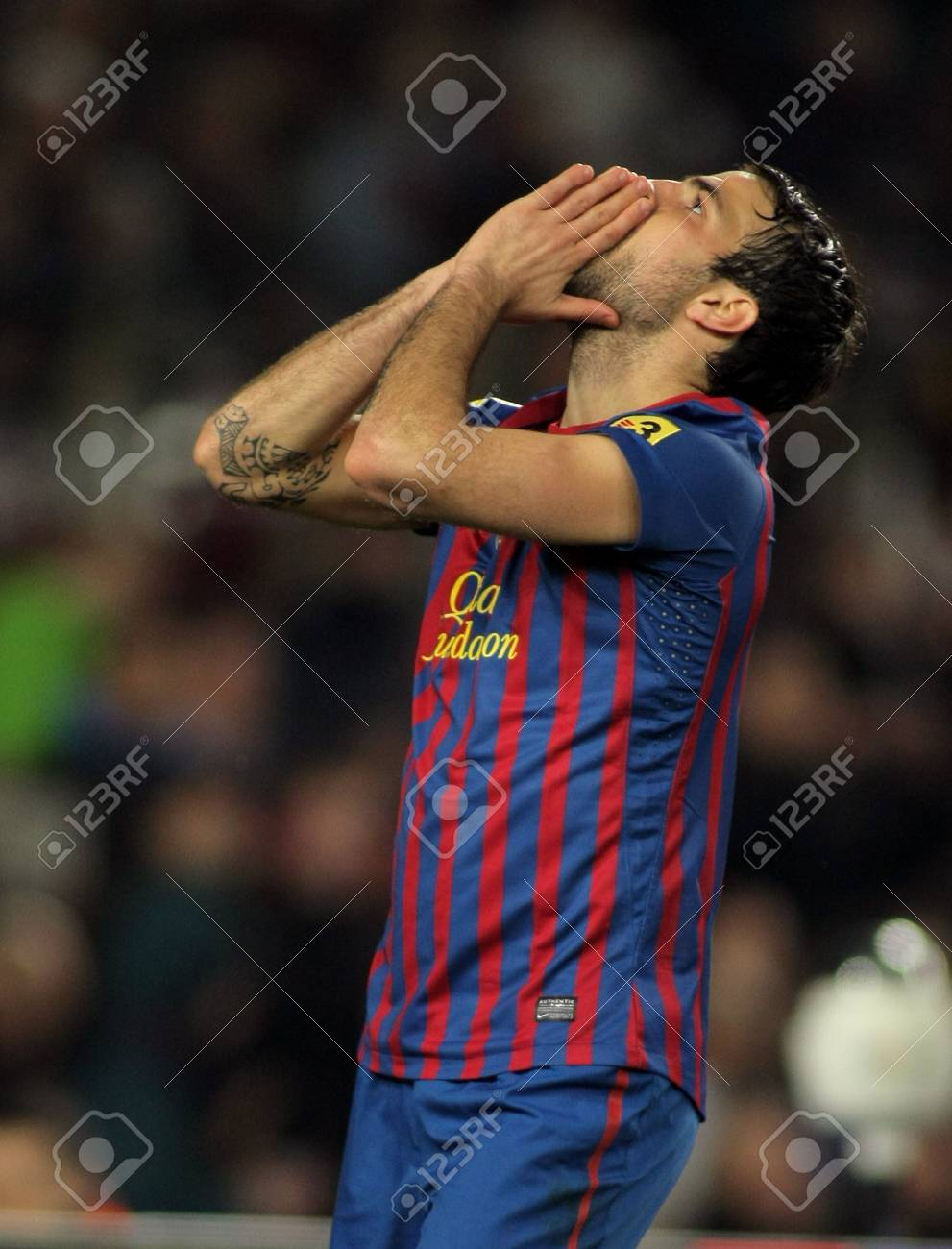 Cesc Fabregas of FC Barcelona in action during the Spanish league match against Valencia CF  at the Camp Nou stadium on February 19, 2012 in Barcelona, Spain Stock Photo - 13022511