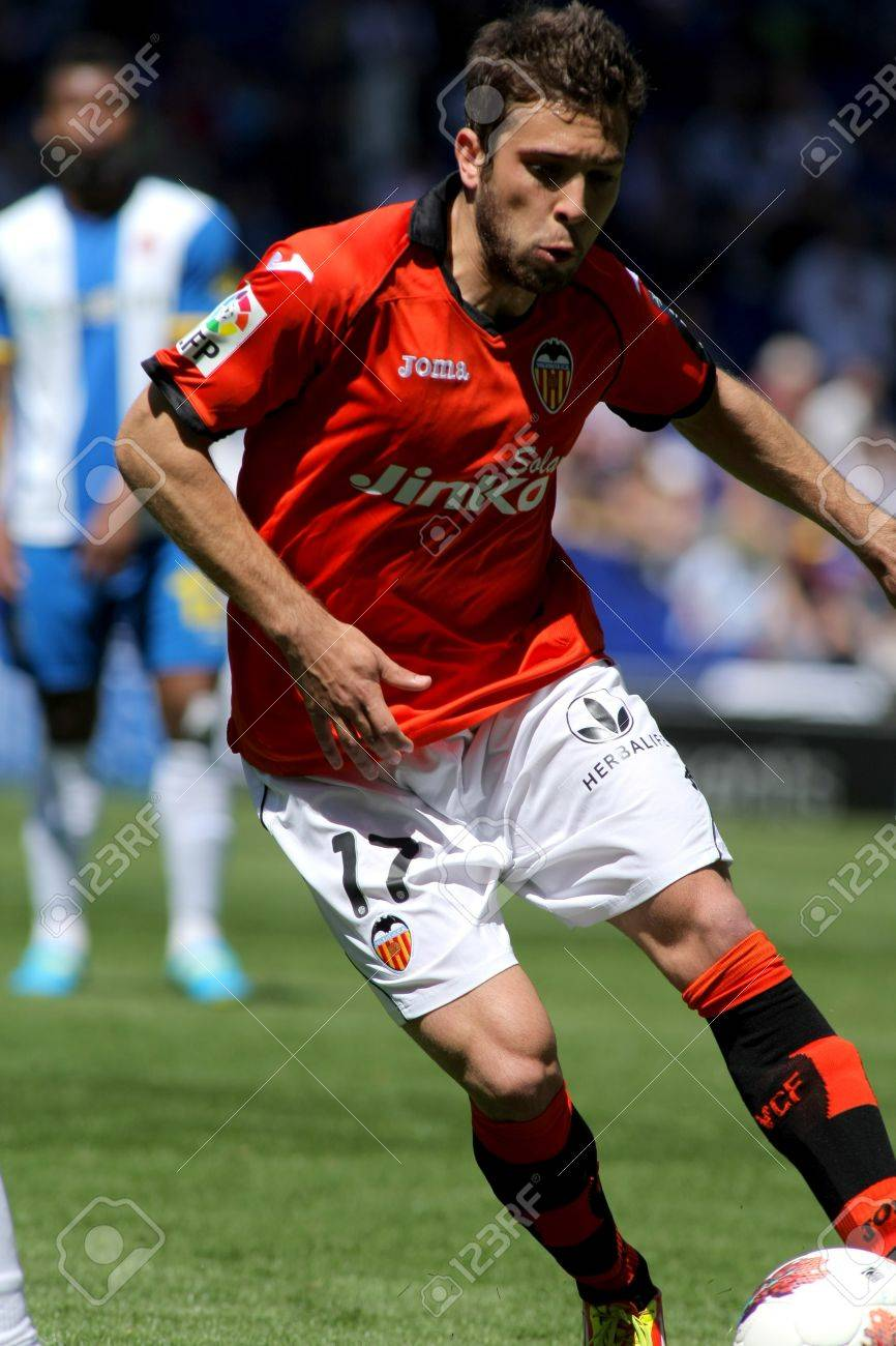 Jordi Alba Valencia CF In Action During A Spanish League Match