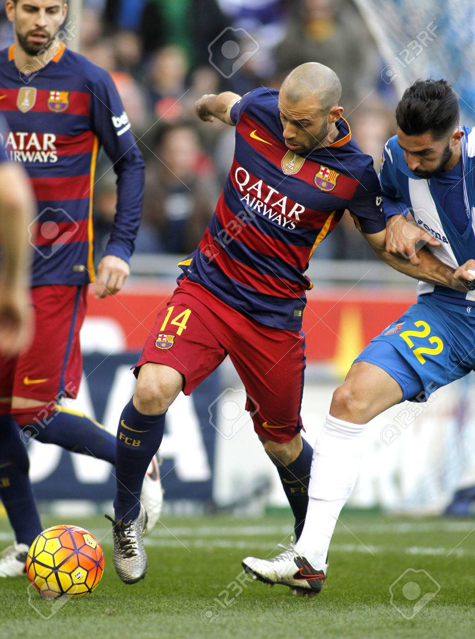 Javier Mascherano FC Barcelona During A Spanish League Match