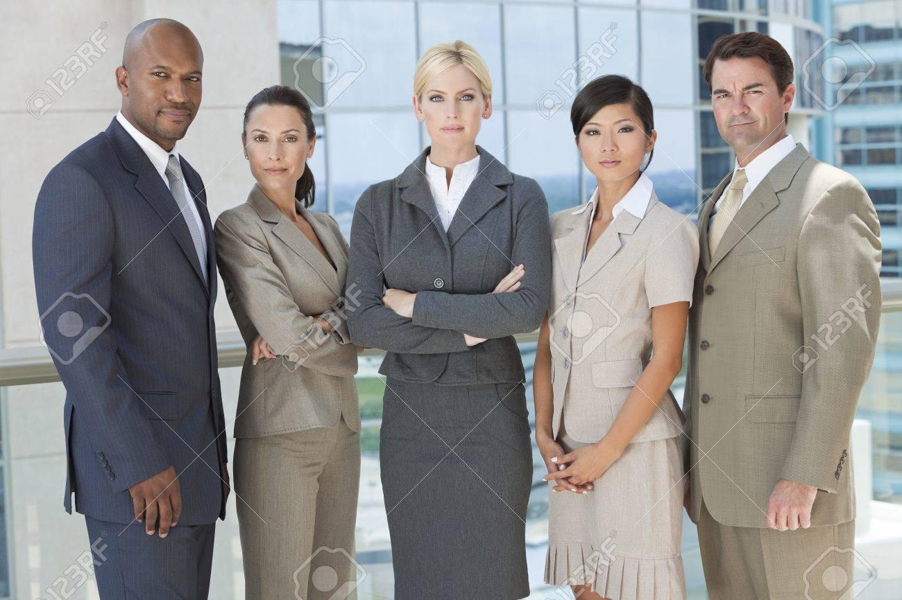 Interracial group of business men   women, businessmen and businesswomen team Stock Photo - 19483552