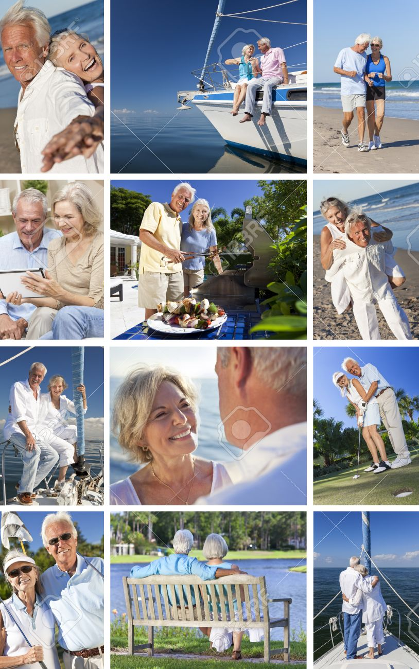 Montage Of Happy Old Senior Man Woman Couples Enjoying Active Retirement Lifestyle On Beach Gardening