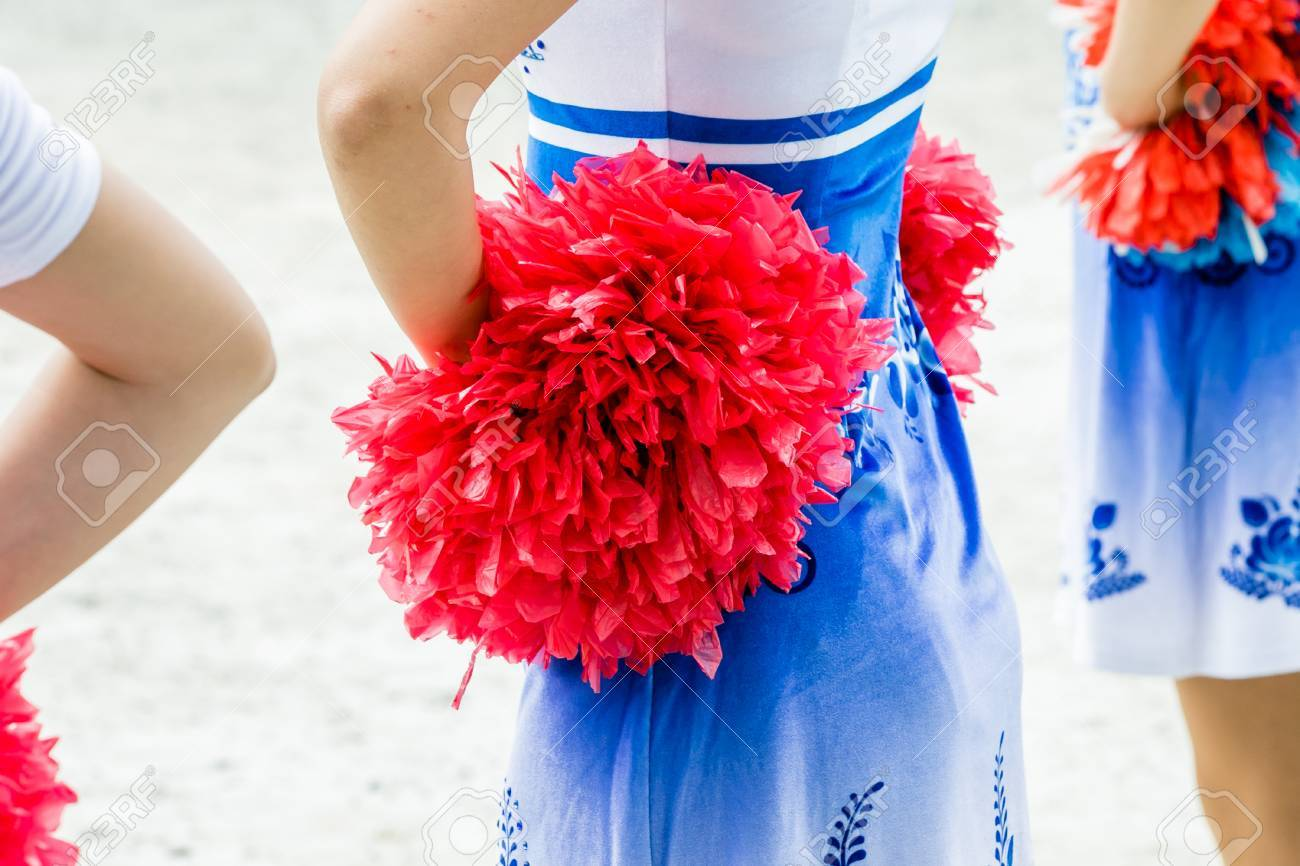 cheerleaders closeup in a symmetrical formation - 45344343