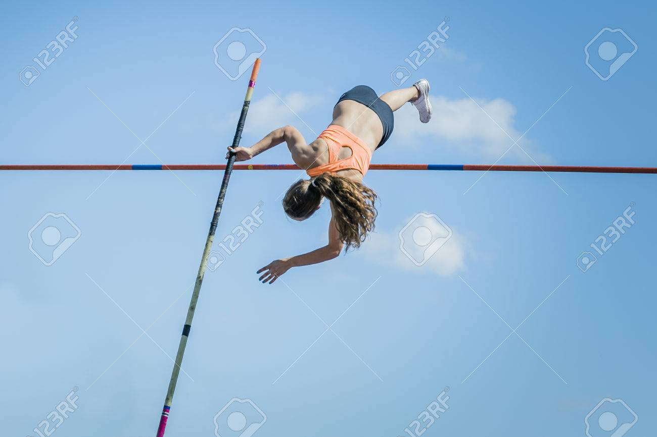Chelyabinsk, Russia - July 24, 2015: Girl athletes pole vault during National competitions in memory of G. I. Nicewhen athletics, Chelyabinsk, Russia - July 24, 2015 - 45087500