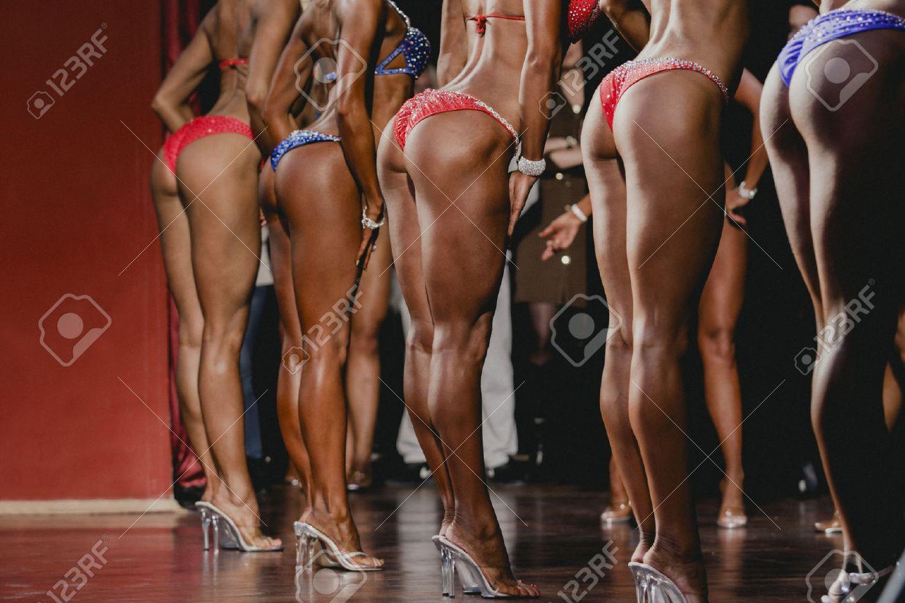 side view girls fitness bikini. beautiful in slim swimsuit bikini - 47162565