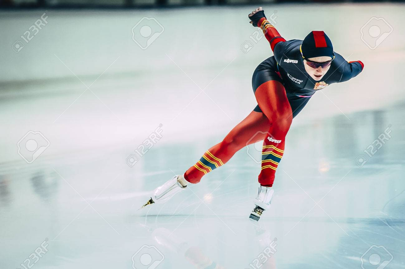 Chelyabinsk, Russia - October 15, 2015: female athlete speed skaters track runs during Cup of Russia on speed skating - 47977947