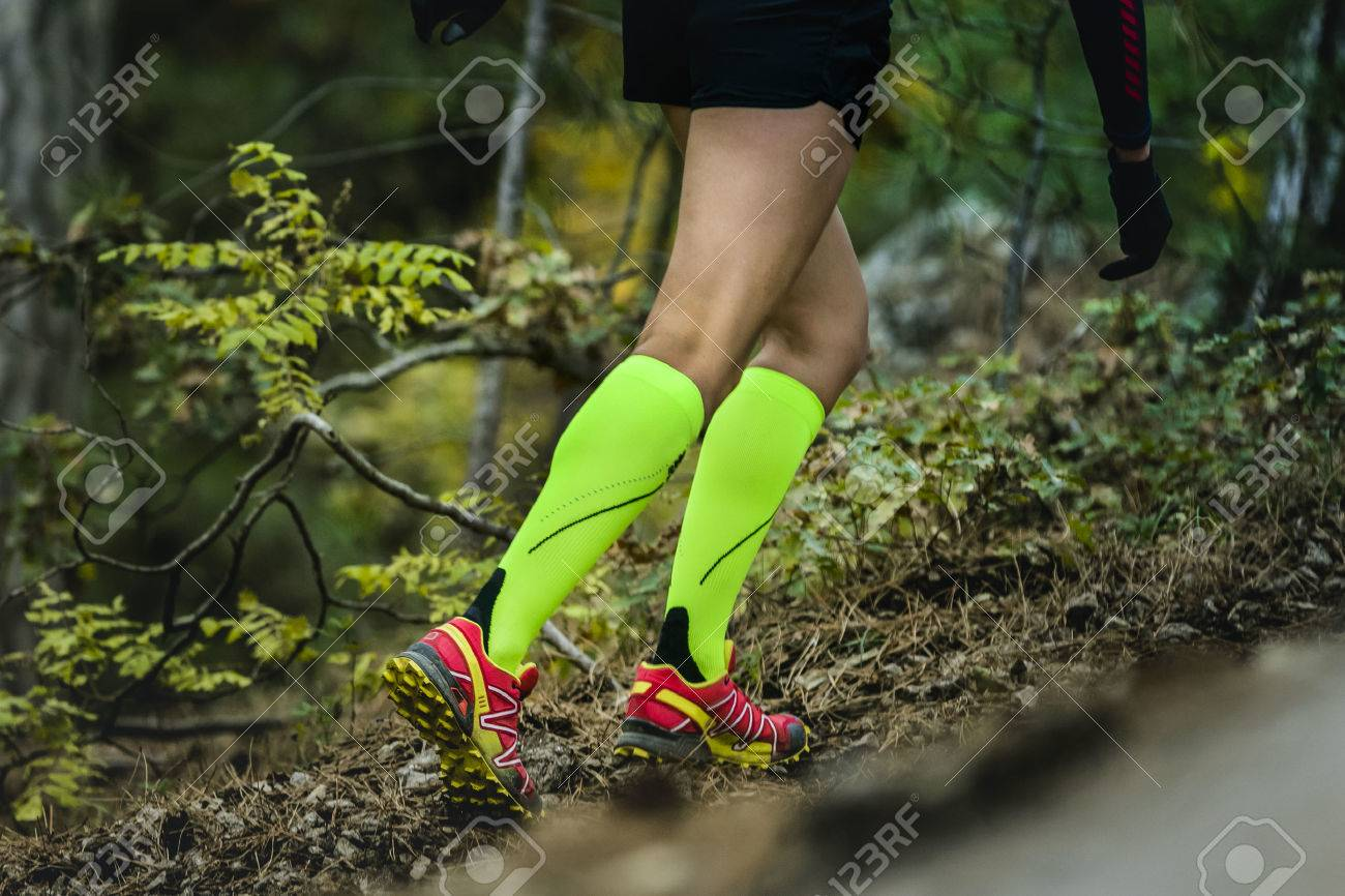 closeup slender and beautiful legs of woman running in compression socks. fitness and exercise in forest - 48827338