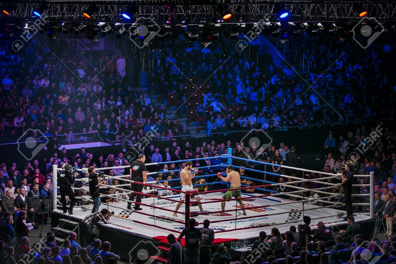 Chelyabinsk, Russia - December 5, 2015: General plan of sports arena during fight in ring, fighters and referee across ring fans during Cup of Russia MMA - 49676231