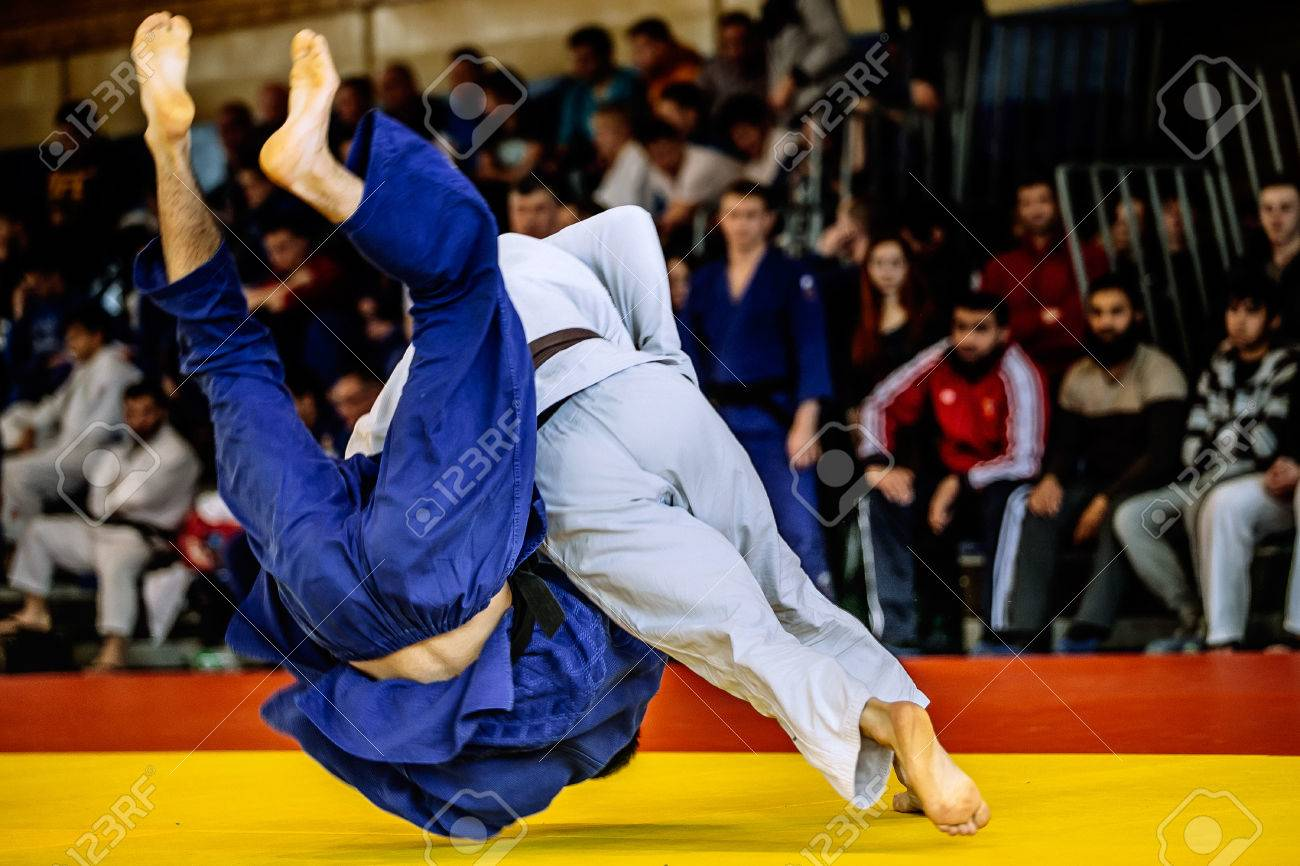 fighter judo throw for IPPON in competition judo - 55747722