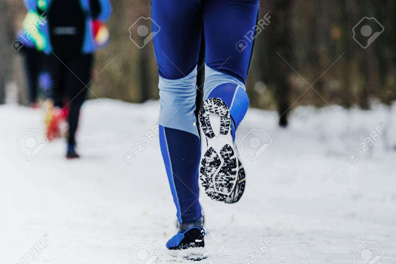 Snow Running Shoes >> Closeup Legs Runner And Running Shoes In Snow Winter Marathon Stock