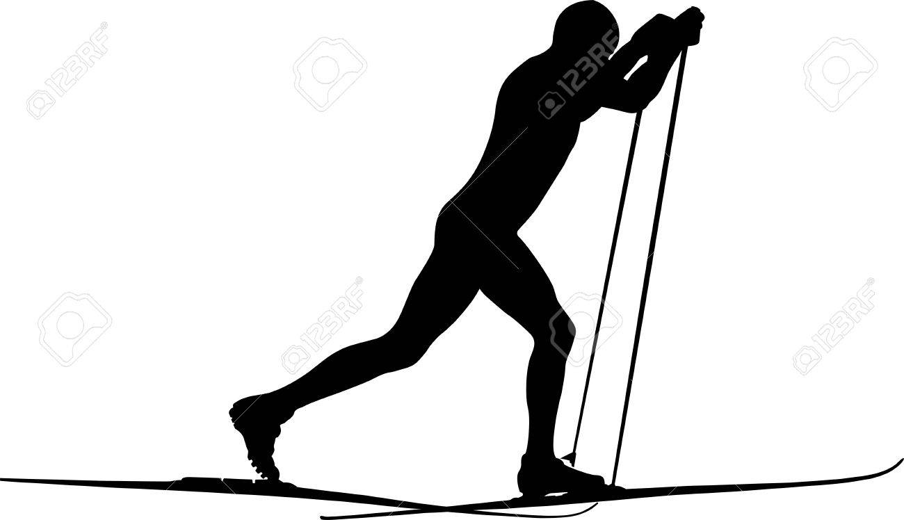 male athlete skier classic style black silhouette - 69261785