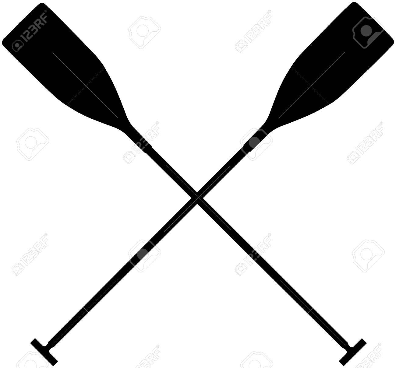 Real Sports Paddles For Canoeing Black Silhouette Criss Cross Stock Vector