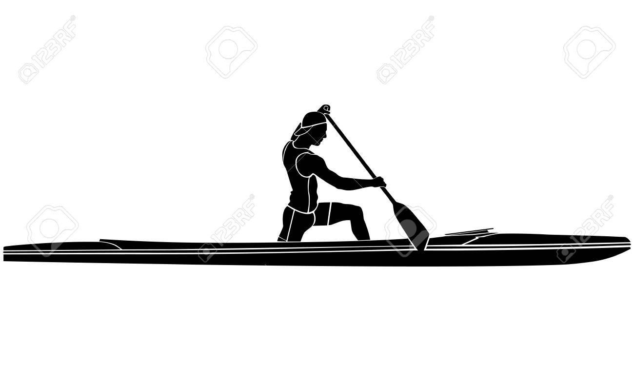 Black And White Silhouette Athlete Sports Canoe With Paddle Stock Vector