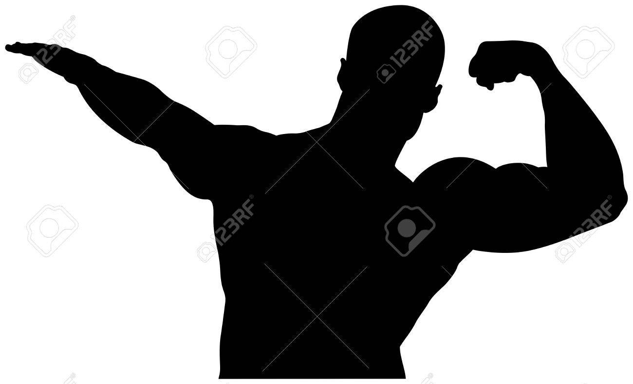 Black Silhouette Athlete Bodybuilder With A Raised Left Muscular