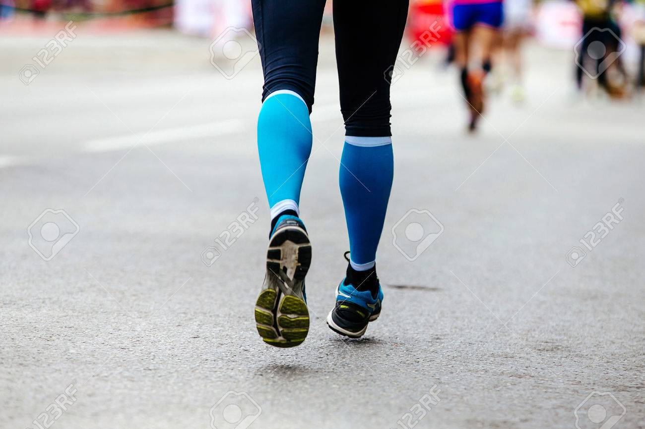 Blue Compression Socks Running Street