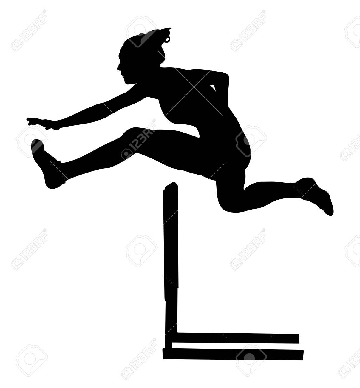 100 m hurdles woman runner athlete black silhouette - 81572034