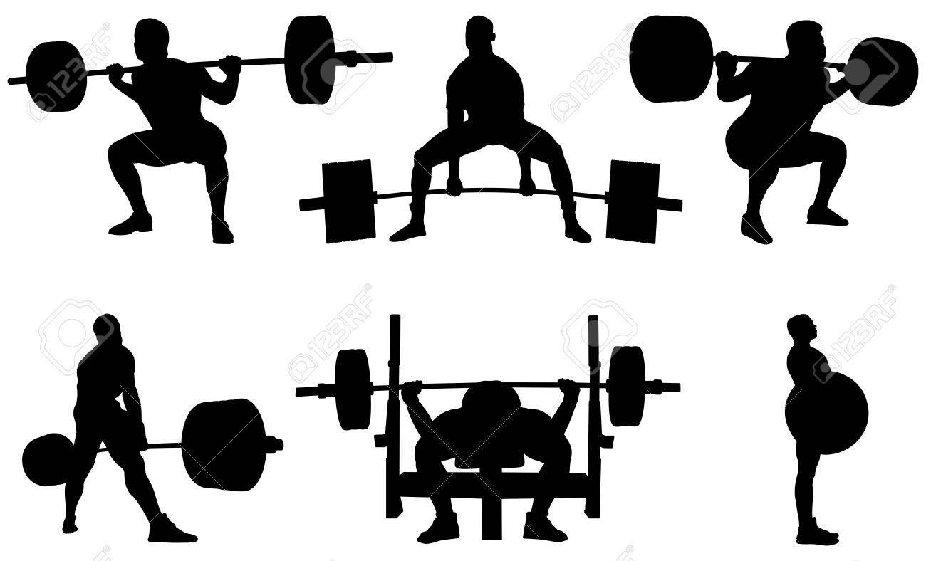 Set powerlifting athletes powerlifters black silhouette - 84999194