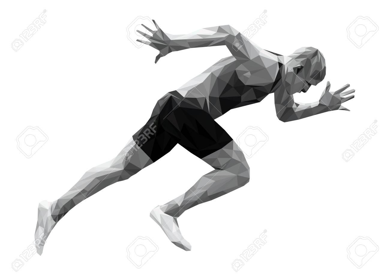 start running sprinter man athlete low poly silhouette - 93013832