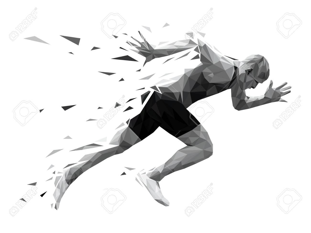 silhouette running man sprinter explosive start. polygonal particles - 93158765