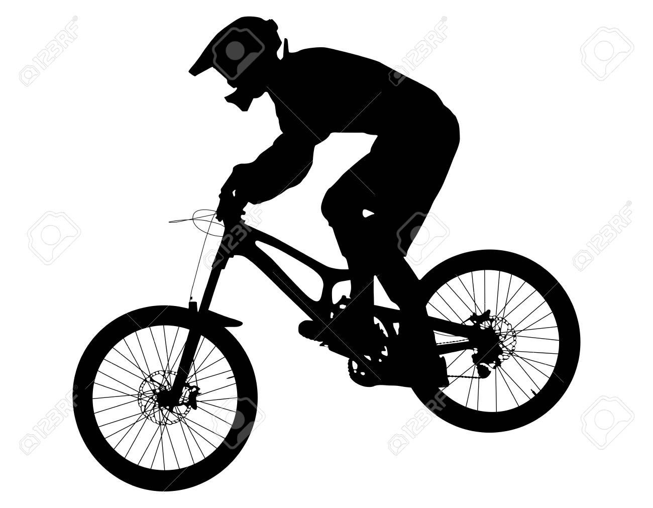 Athlete Rider On Bike Mountain Biking Black Silhouette Royalty Free