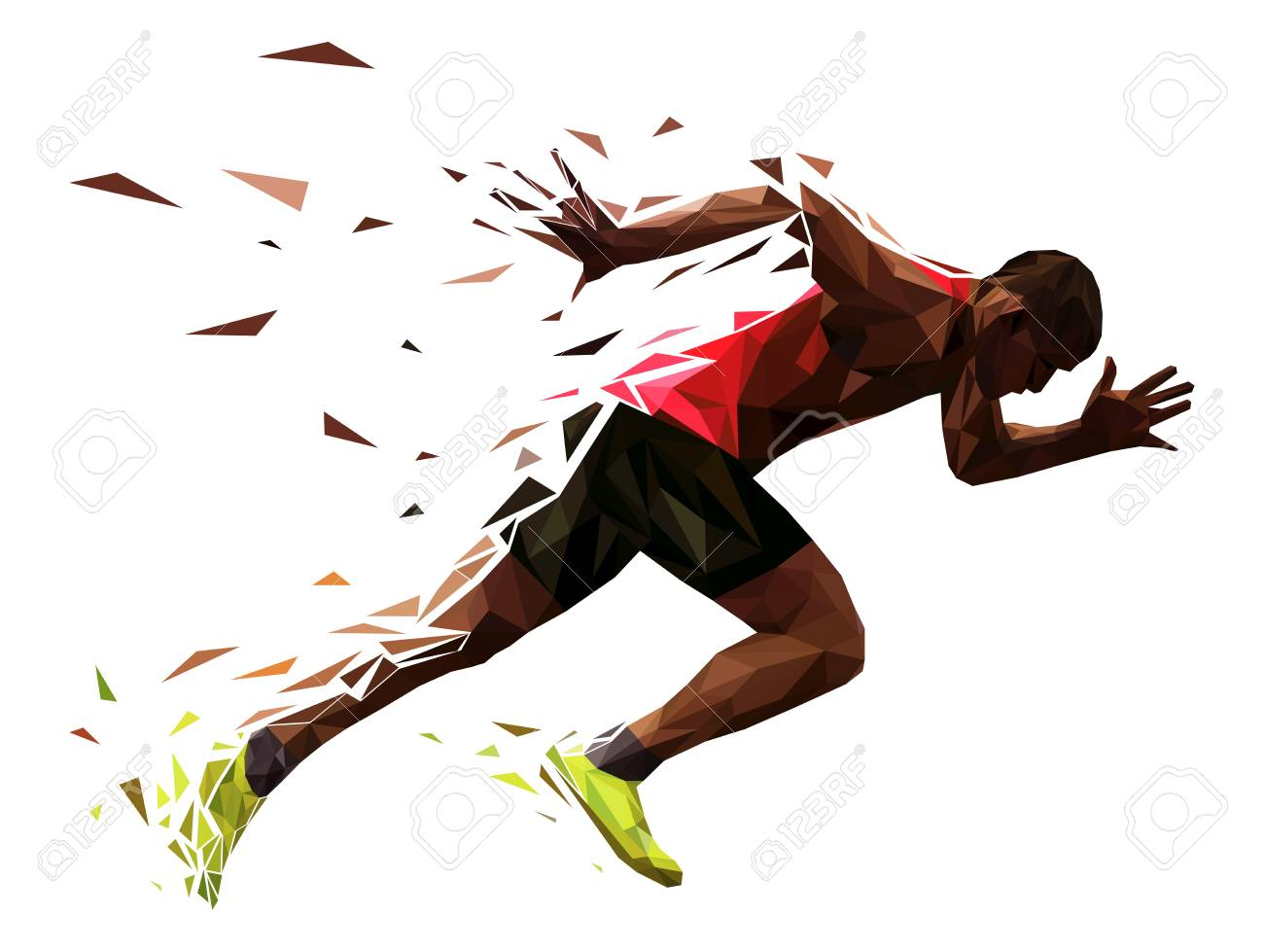 runner athlete sprint start explosive run vector illustration - 96063010