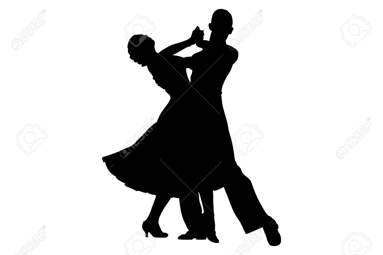 Couple Of Dancers Black Silhouette On Competition In Ballroom Royalty Free Cliparts Vectors And Stock Illustration Image 99474591