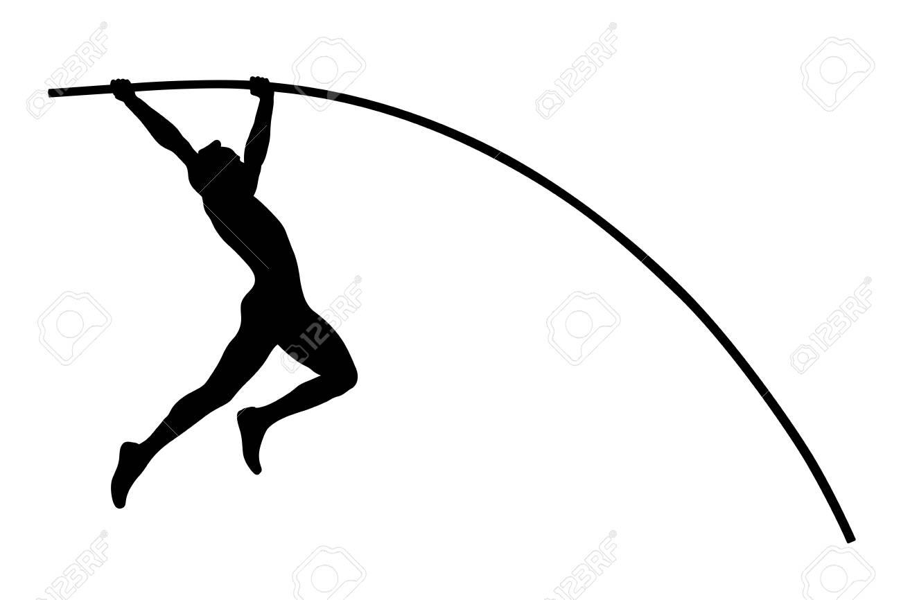 pole vault athlete jumper black silhouette - 110488497
