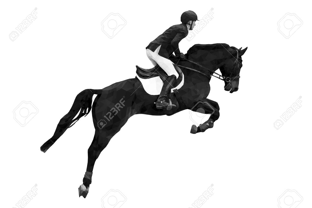 equestrian sport rider on horse jumping black-white image - 118652853