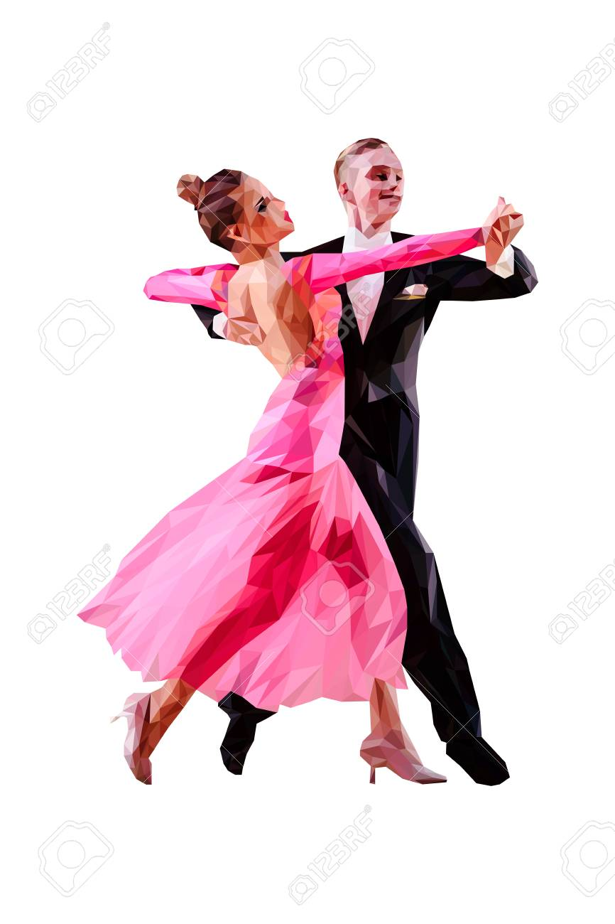 Couple Of Dancers Ballroom Dancing Polygonal Color Vector Royalty Free Cliparts Vectors And Stock Illustration Image 122827120