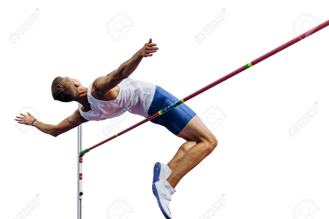 high jump athlete jumper over bar isolated on white background - 129301088