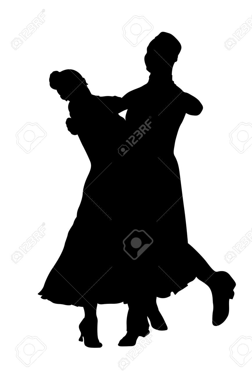 dancing couple black silhouette on white background - 169719138