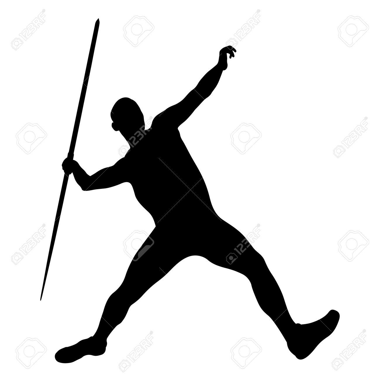javelin throw male athlete black silhouette - 172283910