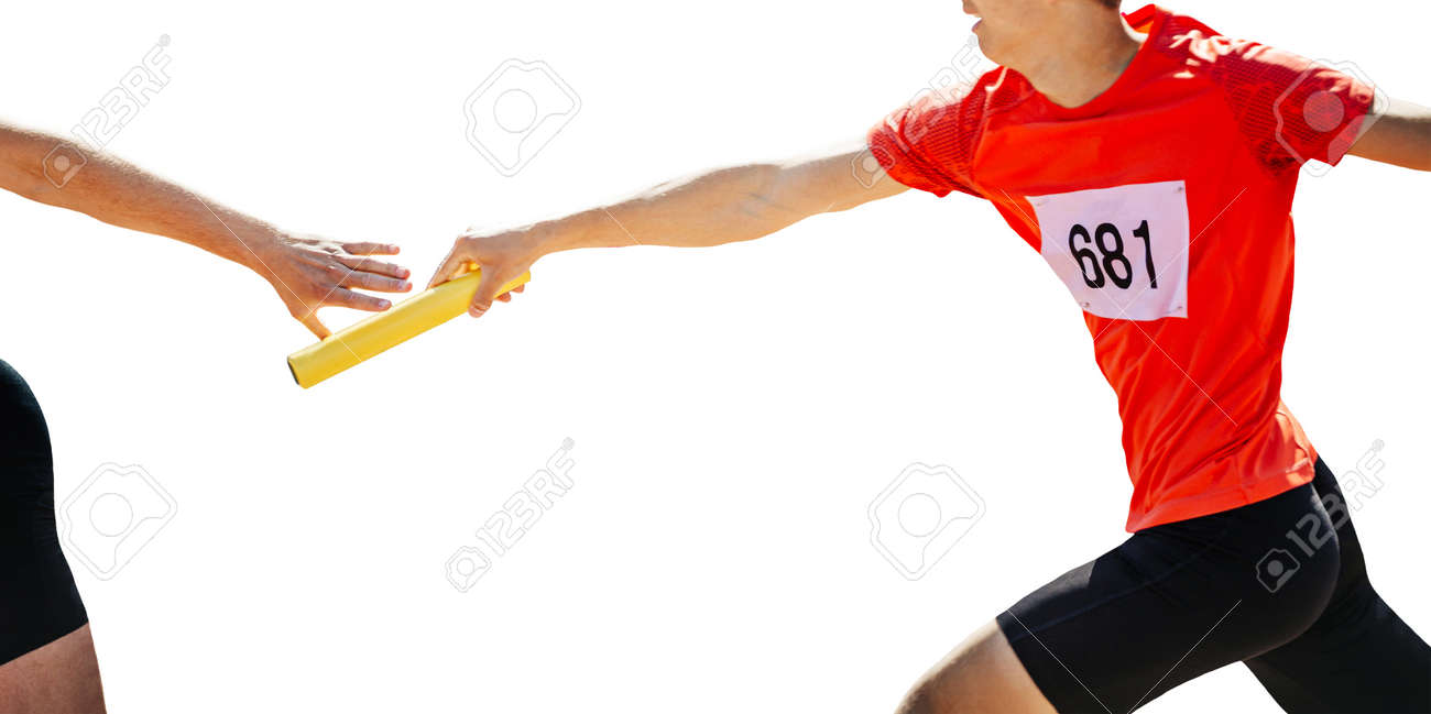 male relay race running track on white background - 172494181