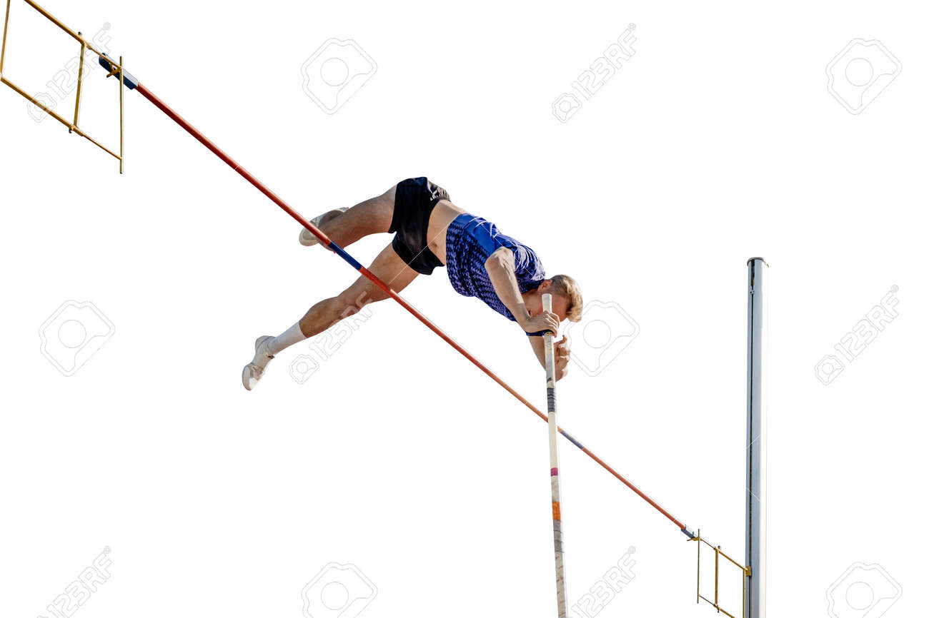 male athlete pole vault on white background - 173168700