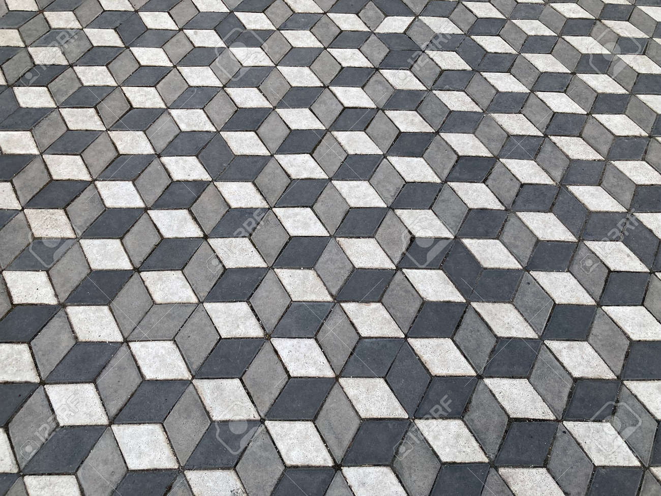 background 3d paving slabs of gray color - 173399314