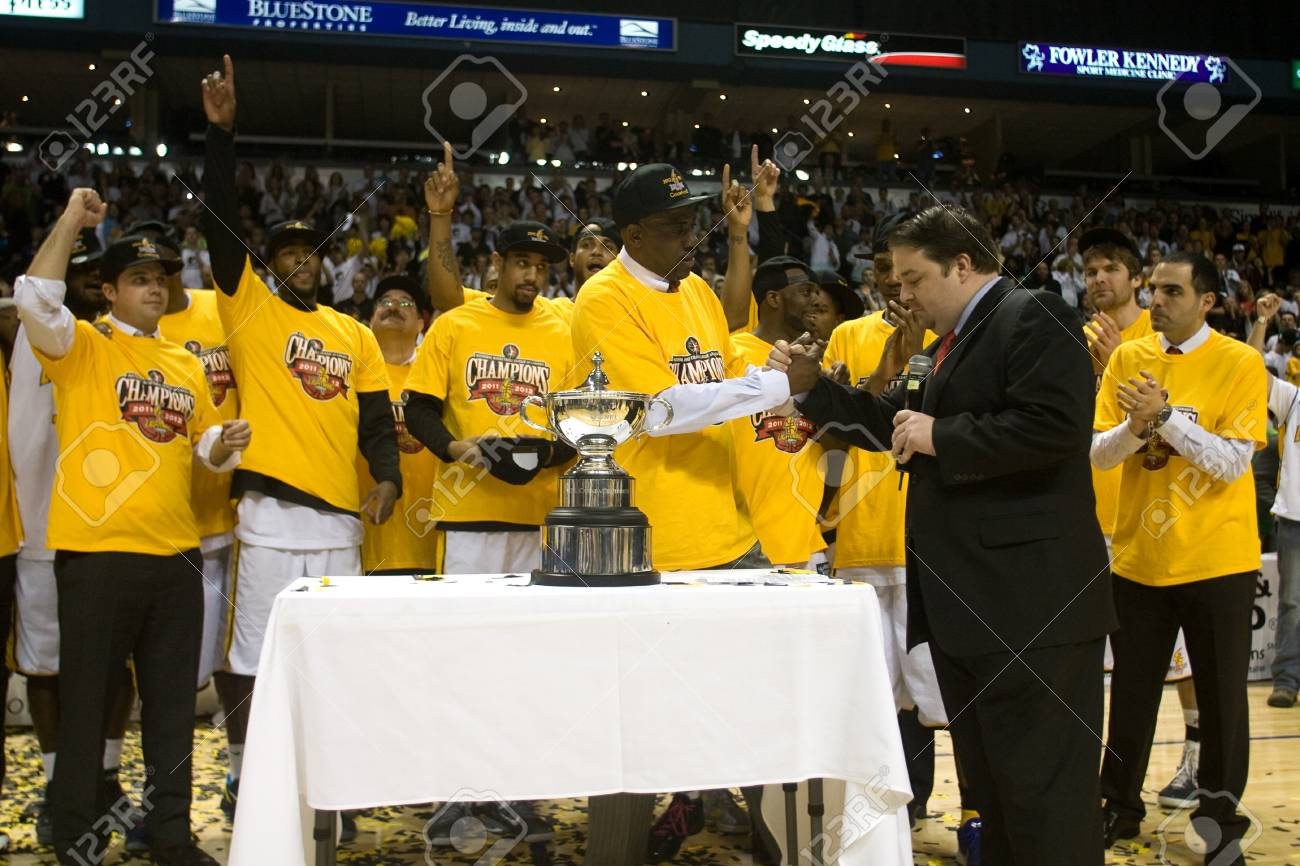 London Ontario, Canada - March 25, 2012.  The London Lightning defeated the Halifax Rainmen 116-92 in the fifth and deciding game to win the National Basketball League of Canada's championship. London player Gabe Freeman was named NBL's season MVP and Lon Stock Photo - 13073065