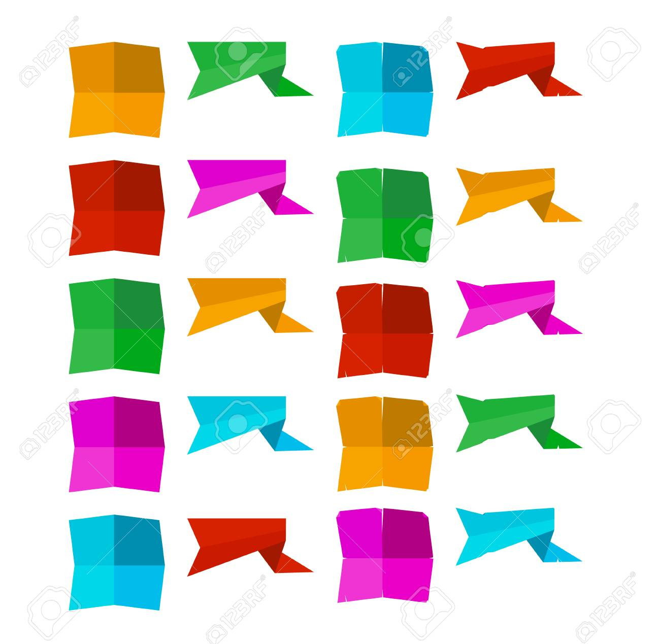 set of blank banner shapes in different colors royalty free cliparts