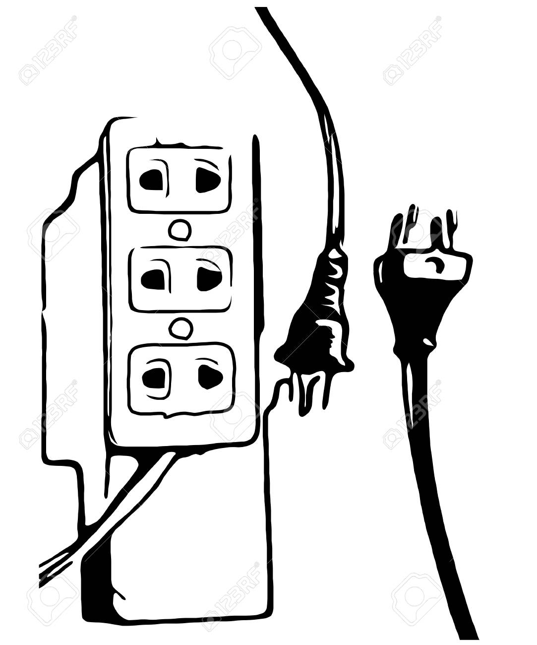 black white plug and outlet royalty free cliparts vectors and Network Cable Color black white plug and outlet stock vector 57145040
