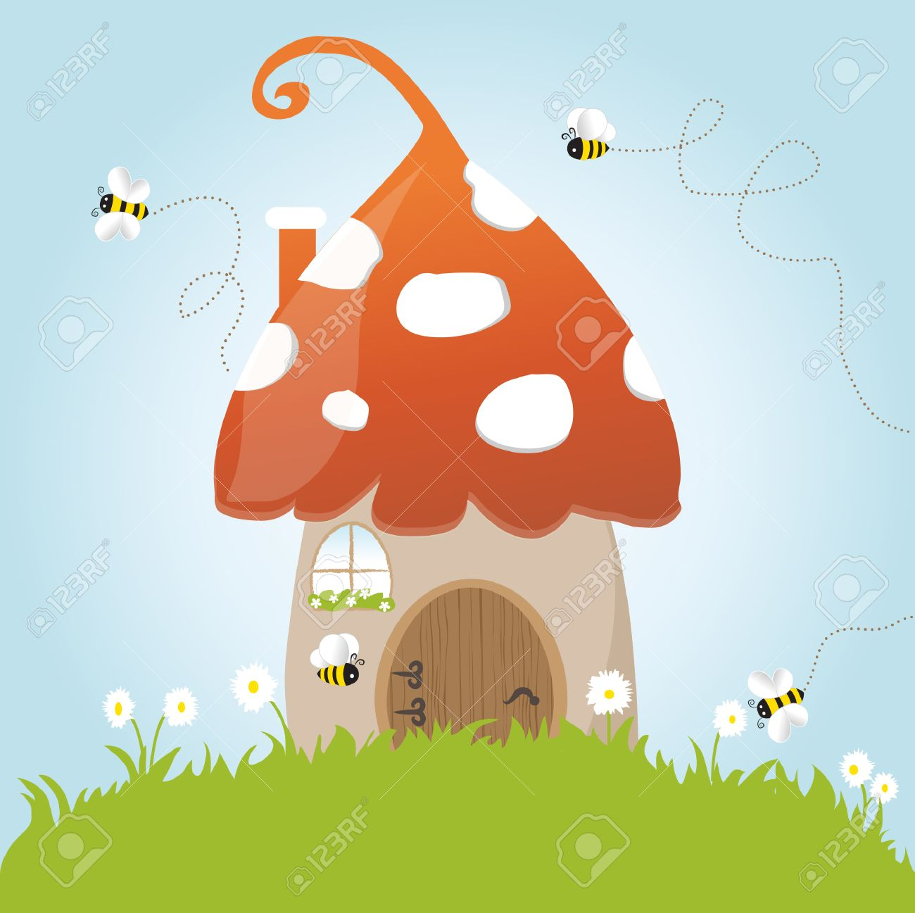 Spring Mushroom Flower Grass Green Door Blue Sky Vector