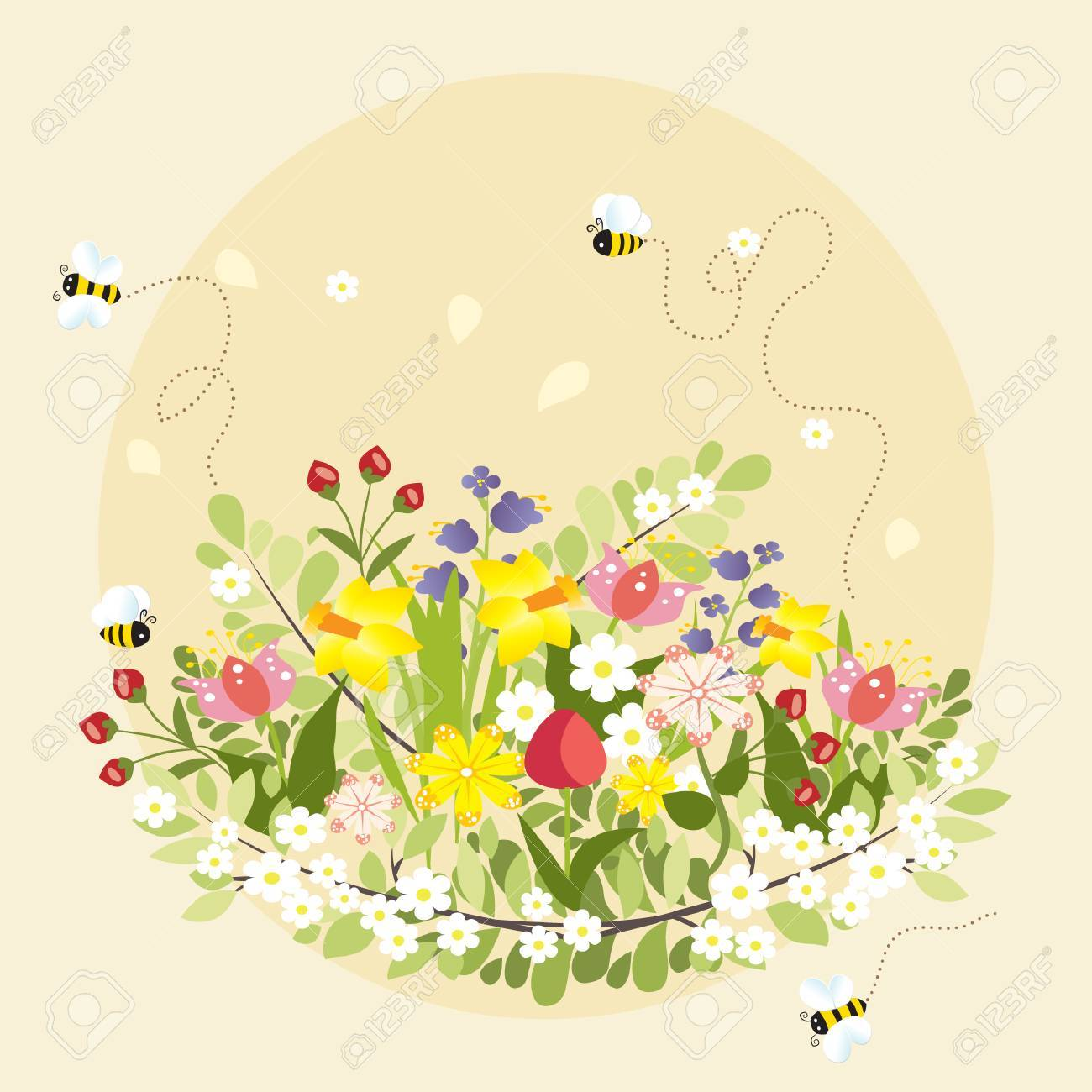 Spring Flowers Beautiful Bee Cartoon Vector Illustration Royalty