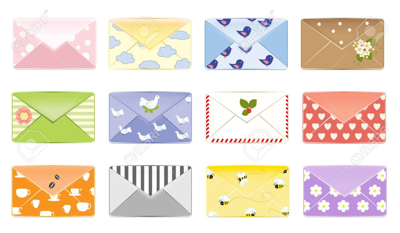 Email Letter Background Vector - Email background letter design mailbox vector illustration set